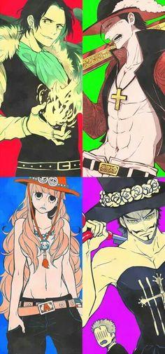 Ace, Crocodile,Perona, and Mihawk clothes swap... XD
