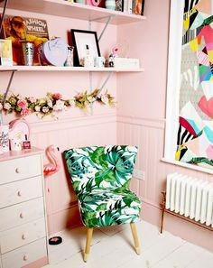 Homesense palm print chair. Tropical print decor. Pink home inspiration. Pastel walls. Girly home inspiration. #labelsforlunch #fashionforlunch #pinkhome #tropicalprint #palmprint
