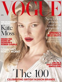 Kate Moss on the April 2017 Cover of Vogue UK Magazine