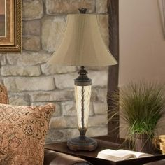 This beautiful table lamp is sure to add class to your room. This lamp features a restoration bronze finish, attractive glass font and pleated fabric bell shade. Metal Table Lamps, Bedside Table Lamps, Glass Table, Glass Center, Lamp Shade Store, Fabric Shades, Lamp Shades, Home Decor Outlet, Light Table