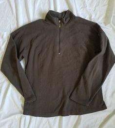 LL Bean Brown Women's Pullover 1/4 Zip size S #LLBean #Pullover