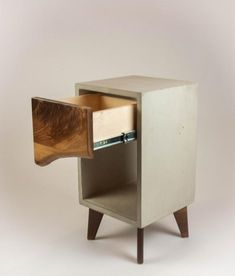 Concrete & Live Edge Wood Drawer Nightstand or End Table Table Beton, Concrete Table, Concrete Furniture, Concrete Wood, Furniture Design, Furniture Ideas, Side Table Decor, Live Edge Wood, Wood Drawers