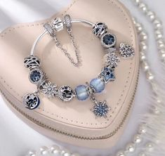 &196 pandora blue purple theme snow flake charm bracket