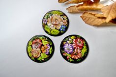 3 Wooden Cabochons.Handmade and nand painted.Russian style.Oil paints.
