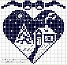 Světnička u Tiny: Předloha / Pattern Cross Stitch Christmas Ornaments, Xmas Cross Stitch, Cross Stitch Heart, Christmas Embroidery, Christmas Knitting, Christmas Cross, Cross Stitching, Cross Stitch Embroidery, Cross Stitch Patterns