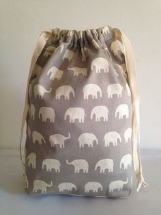 Drawstring Elephants Tote Bag  Multipurpose Bag by LilTotWonder, $22.85