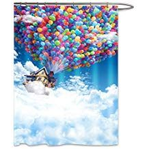 FOOG Balloon Shower Curtain Sets by Fantasy Fabric Colorful Hot Air House Fly in the Sky Cute Kid Fabric Mildrew Resistant Waterproof Funny Bathroom Curtains-Blue White Red Green Yellow L) Disney Bathroom, Funny Bathroom, Red Green Yellow, Blue And White, Shower Curtain Sets, Curtain Ideas, Bathroom Curtains, Next At Home, Cute Kids