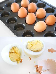 Julie Ann Art: Baking Hard Boiled Eggs  Just place eggs in a muffin tin (I used a mini muffin tin) and bake at 325 degrees for 25 minutes. Then set eggs in cold water for 10 minutes to cool. And you're done!
