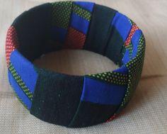 Blue Red & Black Ankara Bracelet by Uwakstar on Etsy