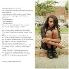 Same Love (remix) by Angel Haze - Great lyrics, powerful message.