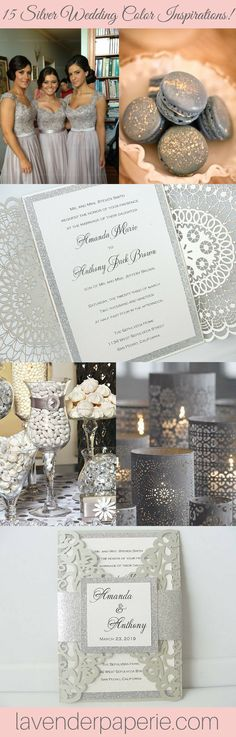 15 Silver Wedding Color Inspirations Silver Wedding Colours, Grey Wedding Decor, Wedding Decorations On A Budget, Wedding Color Schemes, Wedding Themes, Wedding Ideas, Color Inspiration, Wedding Inspiration, Party Mottos