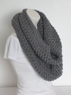 Chunky Infinity Scarf,Oversized Extra Thick, Extra Warm and Extra -Gray Heather by VansBasicWear on Etsy