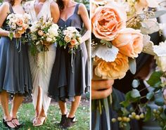 Love this color combination and the peach garden roses