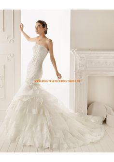 2013 Neue Brautkleider aus Organza und Satin Meerjungfrau mit Applikation