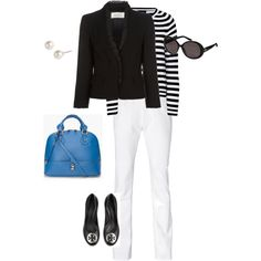 black and white stripe, white denim, blue handbag
