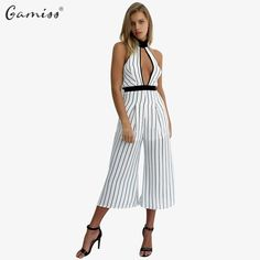 Gamiss 2017 Sleeveless Summer Style Women Jumpsuit Ladies Sexy Neck Hung Stripe Backless Hollowed-Out Design Chiffon jumpsuits