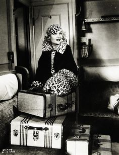 Carole Lombard with  #vintage #leopard and fab vintage luggage.  Fashion history also repeats itself!