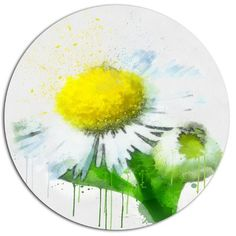 """DesignArt 'Yellow Chamomile Sketch Watercolor' Oil Painting Print on Metal Size: 11"""" H x 11"""" W x 1"""" D"""