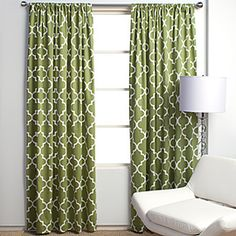 Love these curtains for the guest room (from ZGallerie)...but at $49.95 for each panel, that's a bit steep for me!  Maybe I can find some similar discount fabric...