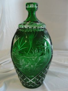 Large Bohemian Emerald Green Irena Etched Elks Cut Glass Star Design   eBay