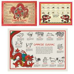 Chinese Zodiac Placemats - Great for a Chinese New Year Party!