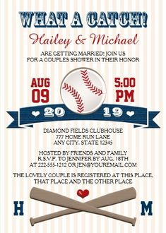 """Monogrammed Baseball Couples Wedding Shower Invitation. Size: 5"""" x 7"""" Make custom invitations and announcements for every special occasion! Choose from twelve unique paper types, two printing options and six shape options to design a card that's perfect for you. Size: 5"""" x 7"""" (portrait) or 7"""" x 5"""" (landscape) Standard white envelope included Add photos and text to both sides of this flat card at no extra charge Use the """"Customize it!"""" CLICK IMAGE FOR MORE DETAILS. Couples Wedding Shower Invitations, Wedding Anniversary Invitations, Wedding Couples, Custom Invitations, Baseball Wedding Shower, Sports Wedding, Fundraiser Themes, Baseball Couples, Couple Shower"""