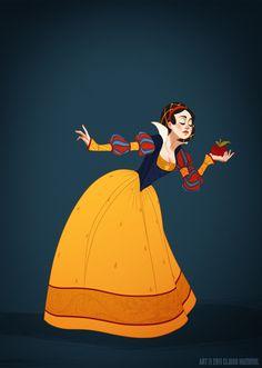 As mangas eram bufantes e elaboradas. Muitas vezes tinha a presença do rufo, espécie de folho (babado) na gola. - fashionbubbles.com/historia-da-moda/como-seriam-os-vestidos-das-princesas-da-disney-se-fossem-fieis-a-historia-da-moda