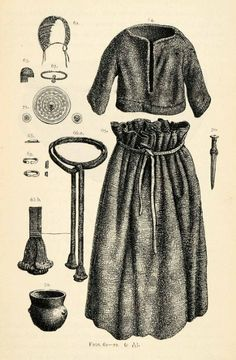 1882 Woodcut Denmark Female Costume Grave Borum Jutland Denmark Tools Archeology - Original Woodcut
