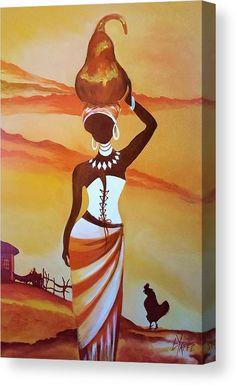 African Wall Art, African Artwork, African Art Paintings, African Drawings, Afrique Art, African American Art, African Women, South African Artists, Diy Canvas Art