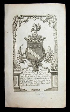 Kupferstich-Wappen. Anton Franc. Vincenti Joseph Comes de: Wappen - Malvezzi,