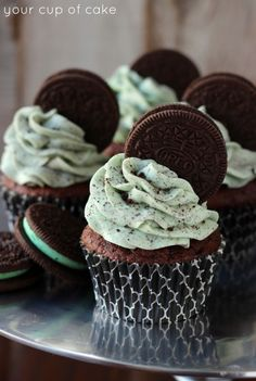 Get the cool combination of mint and chocolate with these Mint OREO Cupcakes. Guests will love them.