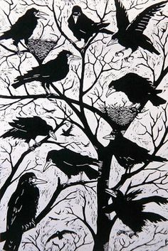 Rooks, 1998 (woodcut) by Nat Morley - print