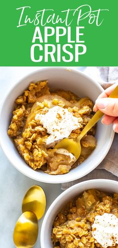 This Instant Pot Apple Crisp is a delicious, classic fall dessert made easy in your pressure cooker, and the apples are so tender! Best Instant Pot Recipe, Instant Pot Dinner Recipes, Instant Pot Pressure Cooker, Pressure Cooker Recipes, Apple Recipes, Fall Recipes, Meal Prep Bowls, Apple Crisp, Cooking Recipes