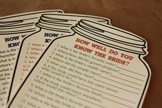 Mason Jar Shower Game Set of 10 Printed Games How Well Do