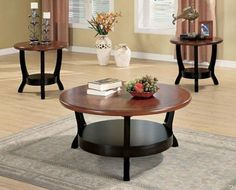 """Amalga 3 Piece Coffee Table Set by Wildon Home. $332.03. 38""""""""W x 19""""""""H x 38""""""""D. Finish: Cappuccino. 701504 Features: -Contemporary style.-Round shape.-Lower shelf.-Two tone effect. Includes: -Set includes one coffee table and two end tables. Construction: -Wood construction. Color/Finish: -Deep cappuccino finish. Assembly Instructions: -Assembly required. Dimensions: -coffee Table Dimensions: 19'' H x 38'' W x 38'' D.-End Table Dimensions: 23'' H x 24'' W x 24'' D."""