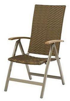 Cool Siena Garden Klappsessel Malaga Gartenstuhl Sessel mit Teak Armlehnen aus Aluminium und Kunststoff Geflecht Mocca