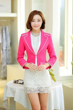 japanese street fashion japanese fashion magazine japan store korean style chinese fashion trendy : Wild temperament Slim short paragraph solid color one button suit jacket define aesthetically pleasing face