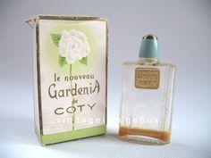 Coty LE NOUVEAU GARDENIA Vintage mini perfume bottle, boxed miniature, by VintageImageBox,