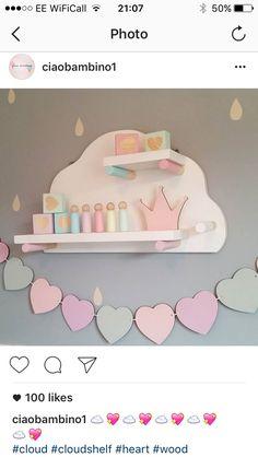 Kids Room Colors Green Blue 57 Ideas - Home Decor Baby Girl Room Decor, Baby Bedroom, Girl Nursery, Girls Bedroom, Nursery Grey, Kid Bedrooms, Bedroom Yellow, Cloud Shelves, Grey Shelves