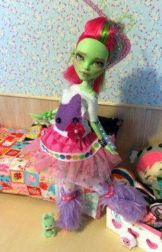 meet wisp custom ooak monster high venus doll by TheSleepyForest.  All clothing is removeable and hand and machine sew.  She has her own green bunny. The original face painting has been removed and then painted by the artist.