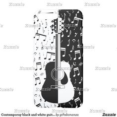 Contemporay black and white guitar music notes iPhone 7 plus case