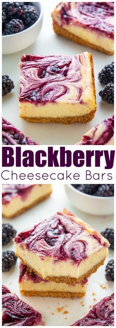 ***Creamy Lemon Blackberry Cheesecake Bars!