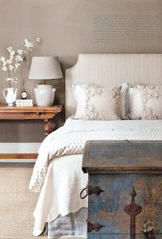 Love the old trunk and that side table - beautiful! The combination with gray walls is perfect. via: The Board - MacRae Designs Blog: March 2012