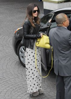 Rachel Bilson style - Burberry quilted leather jacket, Suno SS 2012 maxi dress, ShoeMint Michelle booties