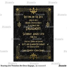 Roaring 20s Twenties Art Deco Engagement Party Card