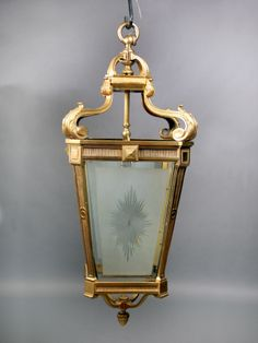 A Wonderful and Large Late Century Gilt Bronze and Etched Glass Lantern Antique Chandelier, Antique Lighting, Etched Glass, Glass Etching, Street Lamp, Hanging Lanterns, Home Accents, Wall Sconces, Light Fixtures