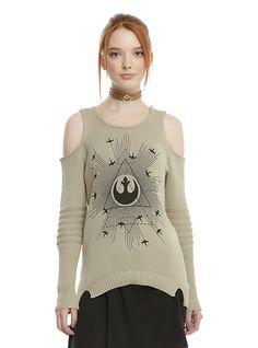 Star Wars Rogue One Rebel Girls Cold Shoulder Sweater, GREY