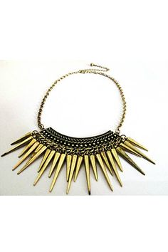 This necklace crafted in alloy, featuring spikes embellished pendant, adjustable chain with lobster clasp fastening to the reverse.$16