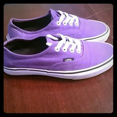 Purple Vans These beautiful shoes have only been worn a few times. Comfortable with a hint of spunk! Get your Vans on, baby. Vans Shoes Sneakers