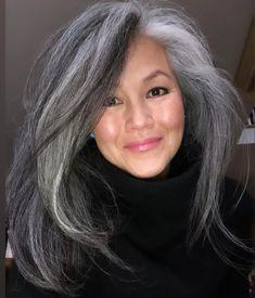Black Hair With Grey Highlights, Black And Grey Hair, Grey Hair Looks, Silver Grey Hair, Long Black, Blonde Hair With Black Tips, Silver Highlights, Grey Hair Care, Grey Curly Hair